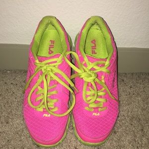 Fila neon pink and green workout shoes